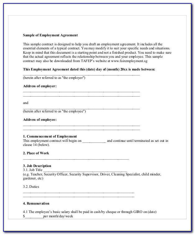 Sample Temporary Contract Employment Agreement