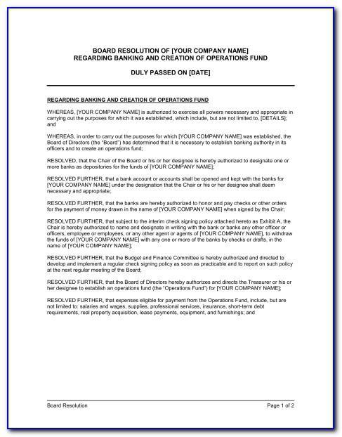Sample Written Resolution Of Board Of Directors