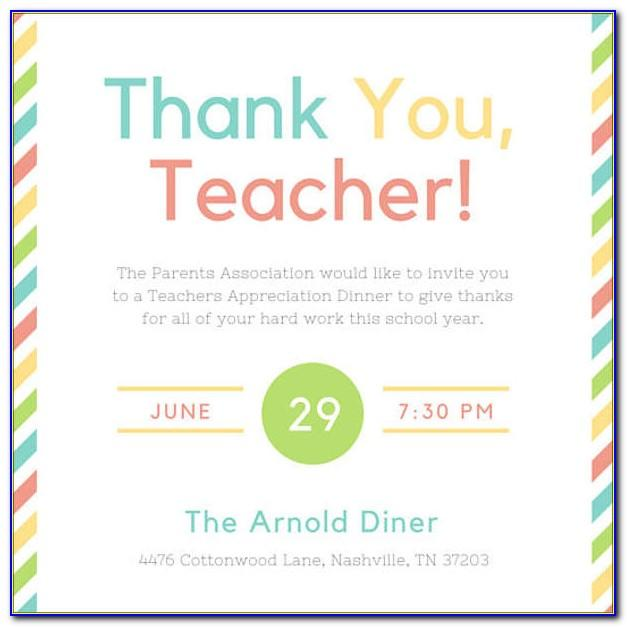 Teacher Appreciation Luncheon Invitation Template