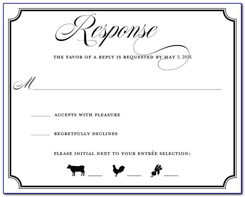 Wedding Rsvp Card Wording Template