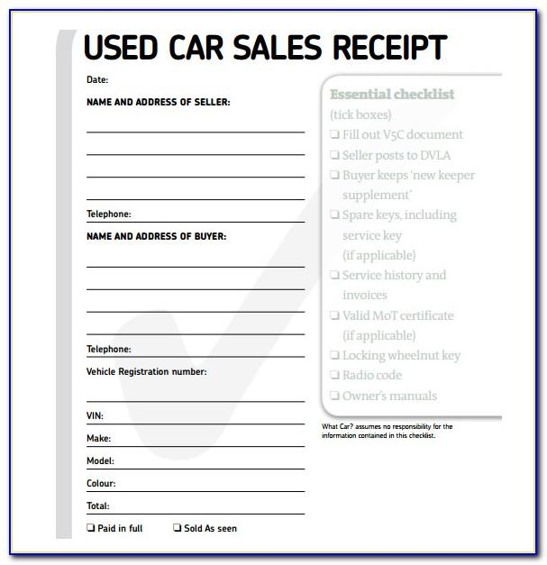 Acknowledgement Receipt Sample For Car Sale