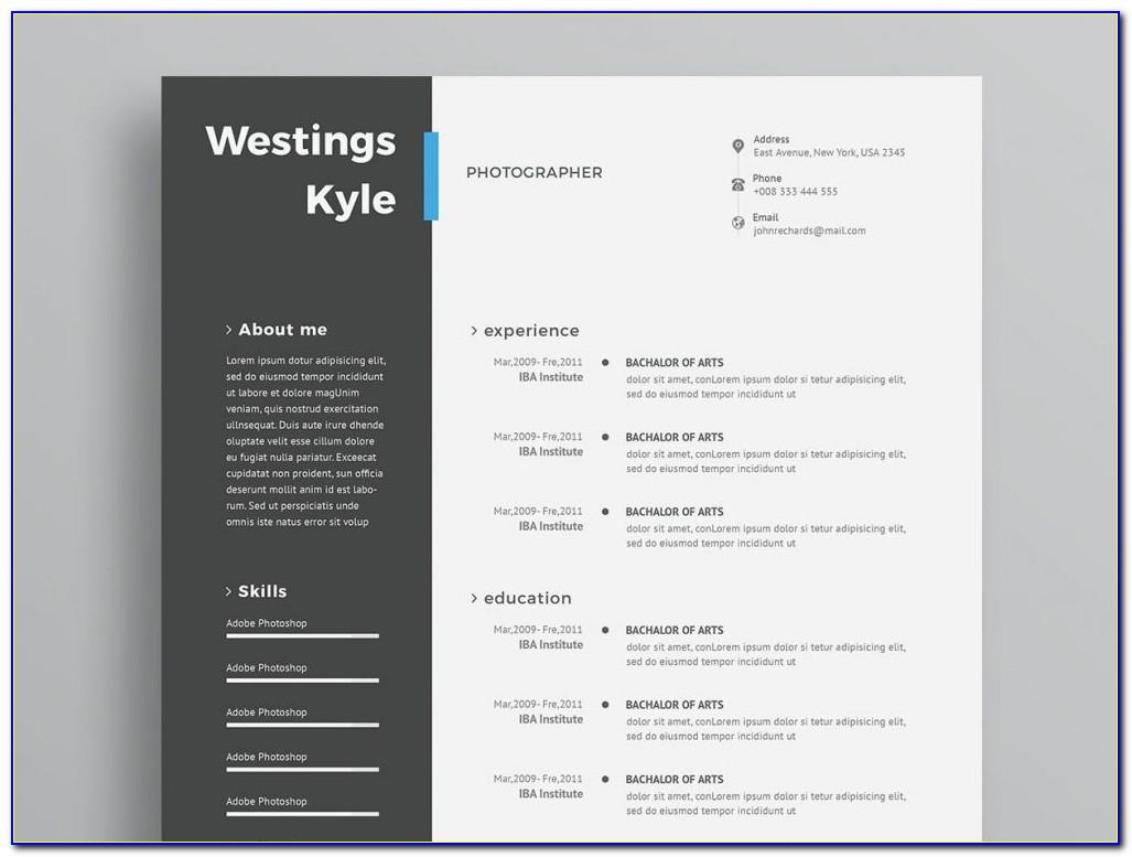 Adobe Photoshop Resume Template Free Download