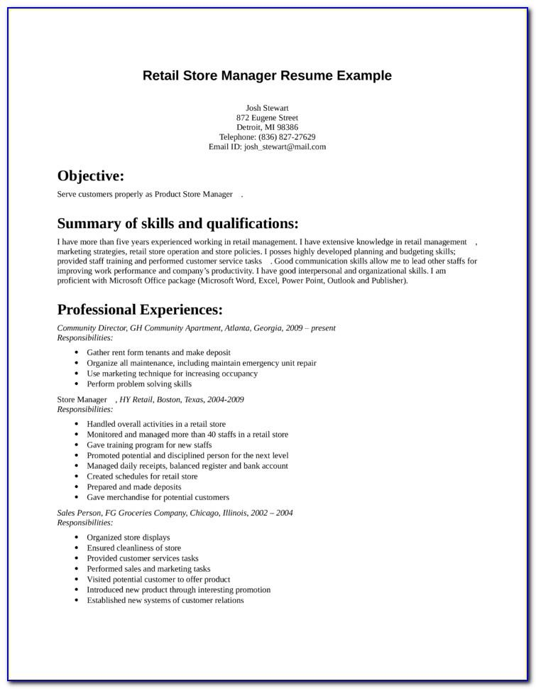Basic Resume Examples For Retail Jobs
