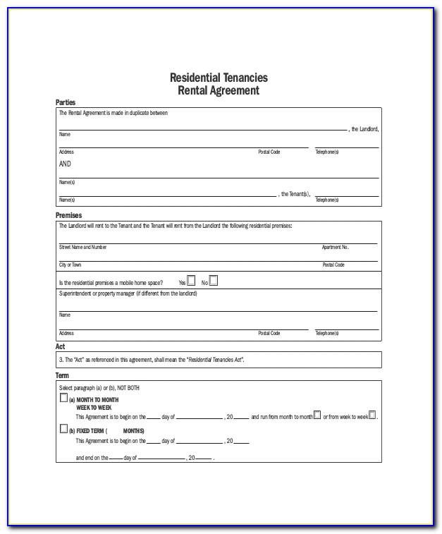 Bc Rental Agreement Template