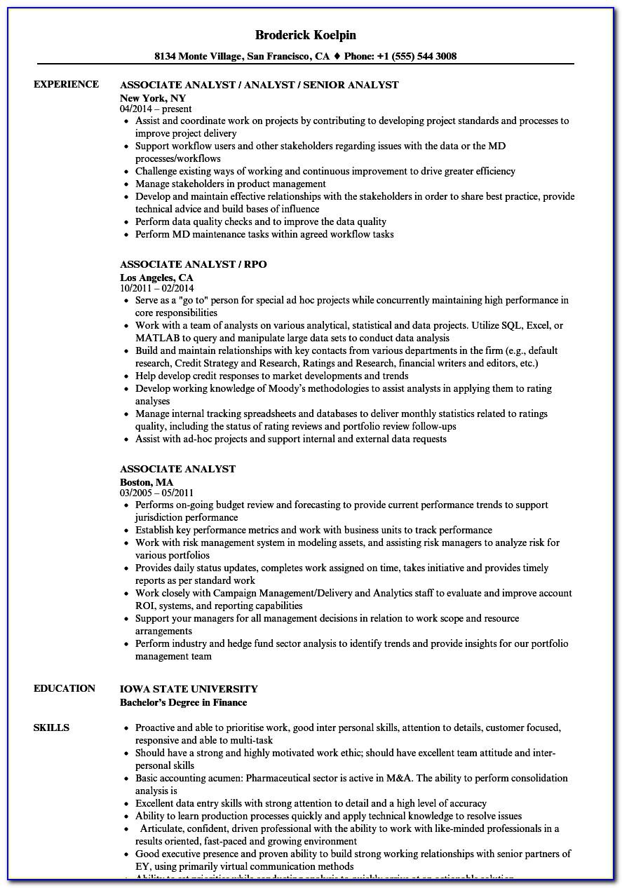 Best Resume Format For Financial Analyst