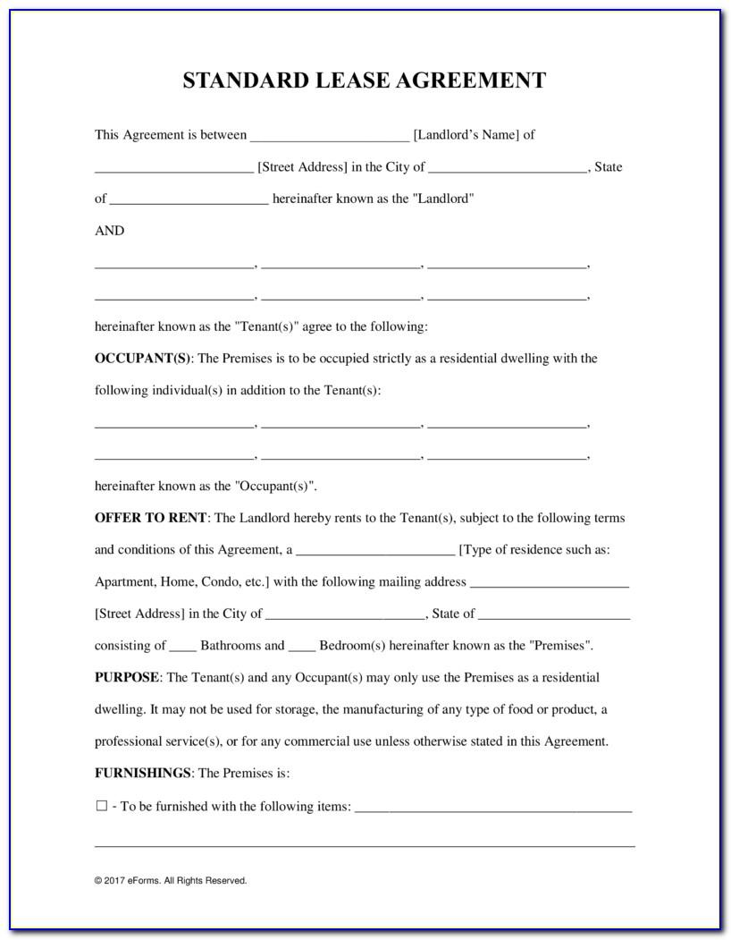 Blank Residential Lease Agreement Template