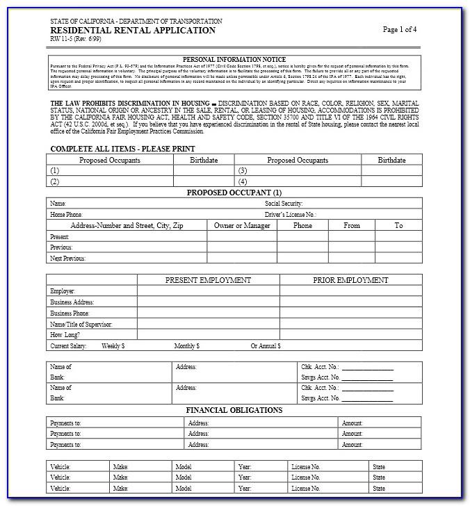 California Residential Rental Application Form Free