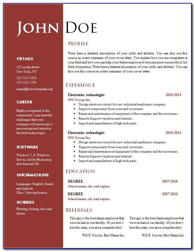 Creative Resume Template Microsoft Word Free