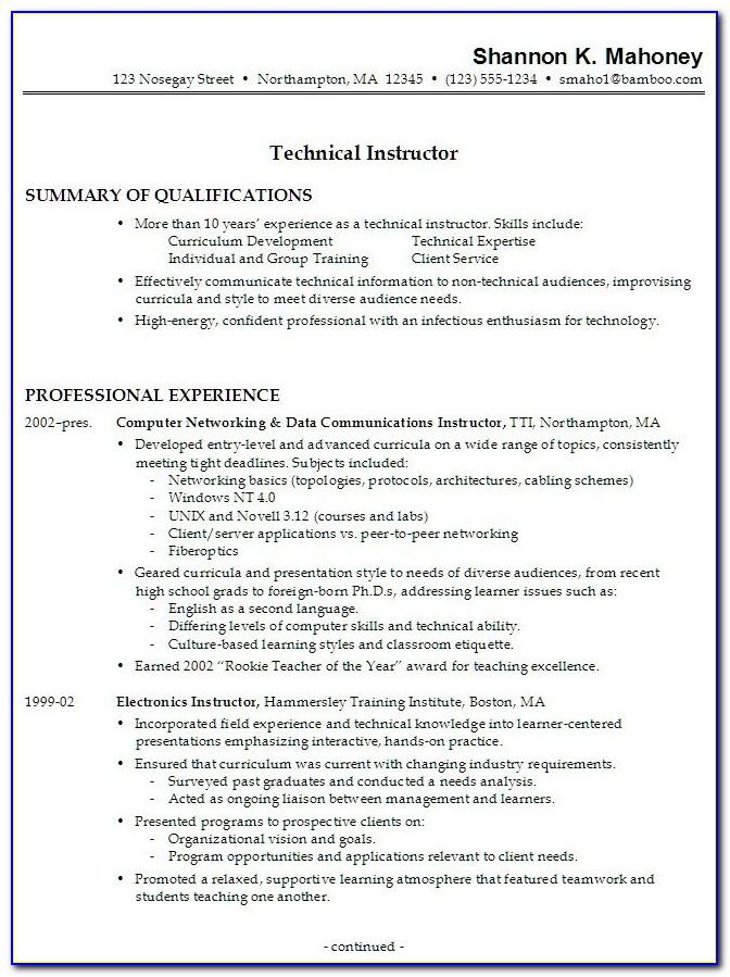 Curriculum Vitae Format Download In Ms Word 2007