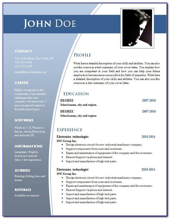 Curriculum Vitae Format Microsoft Word