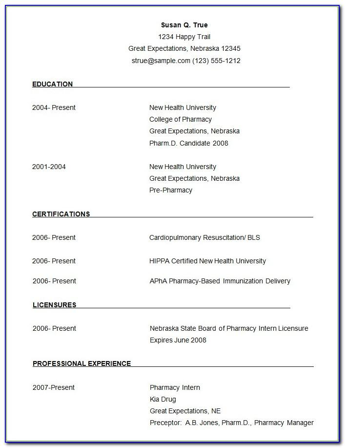 Cv Sample Free Download Word Document