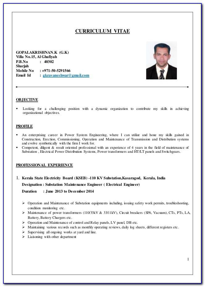 Cv Samples For Electrical Maintenance Engineers
