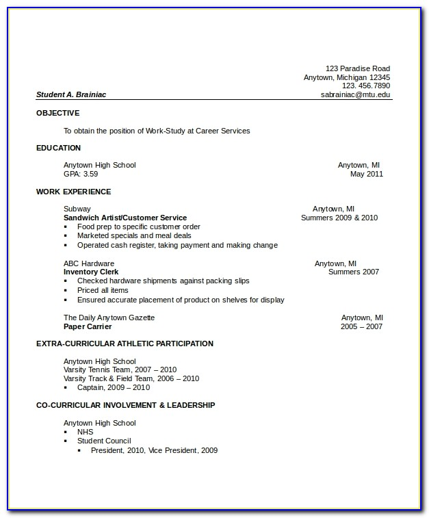 Cv Template For High School Graduate