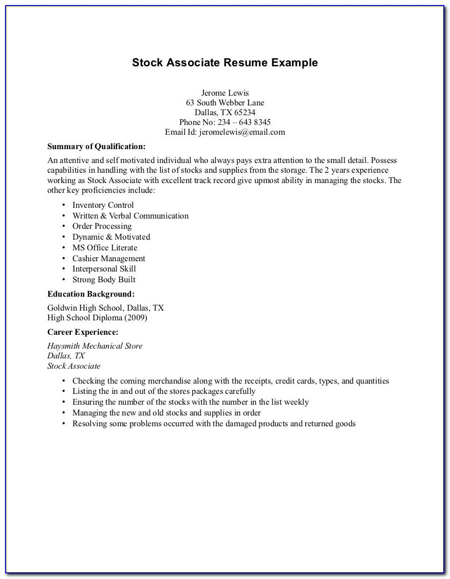 Cv Template For High School Students