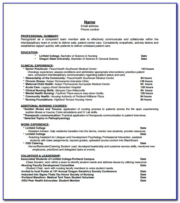 Cv Template For Nurses Free