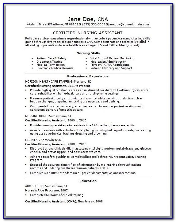 Cv Template For Nursing Assistant