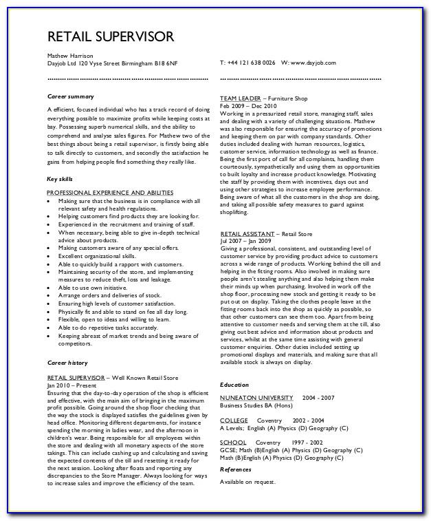 Cv Template For Retail Pharmacist