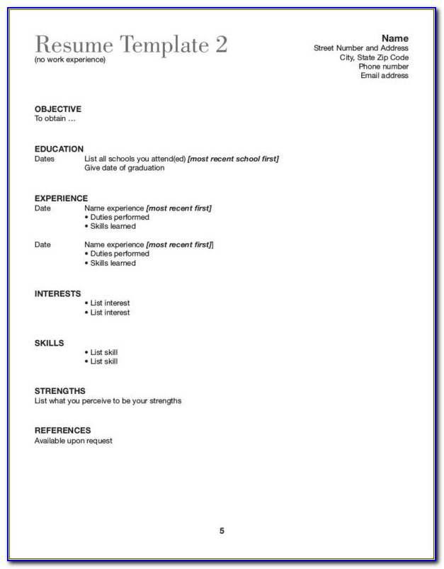 Cv Template For Students With No Experience