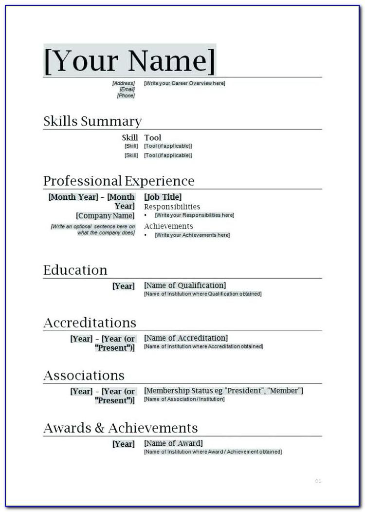 Cv Template Free Download Doc