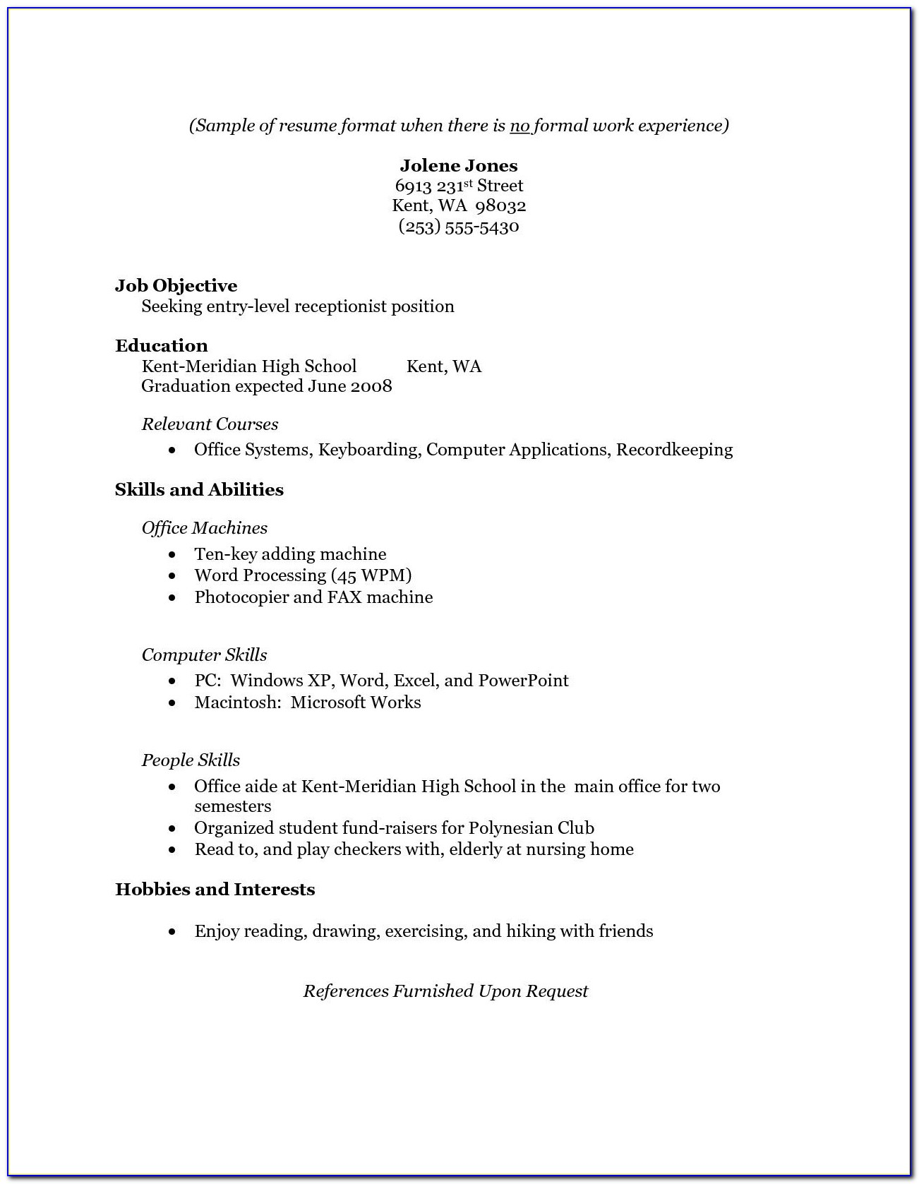 Cv Template Without Experience