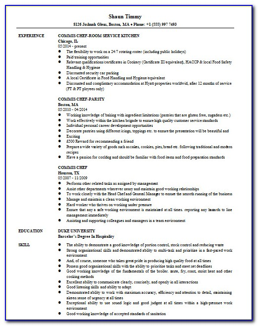 Cv Template Word For Chef