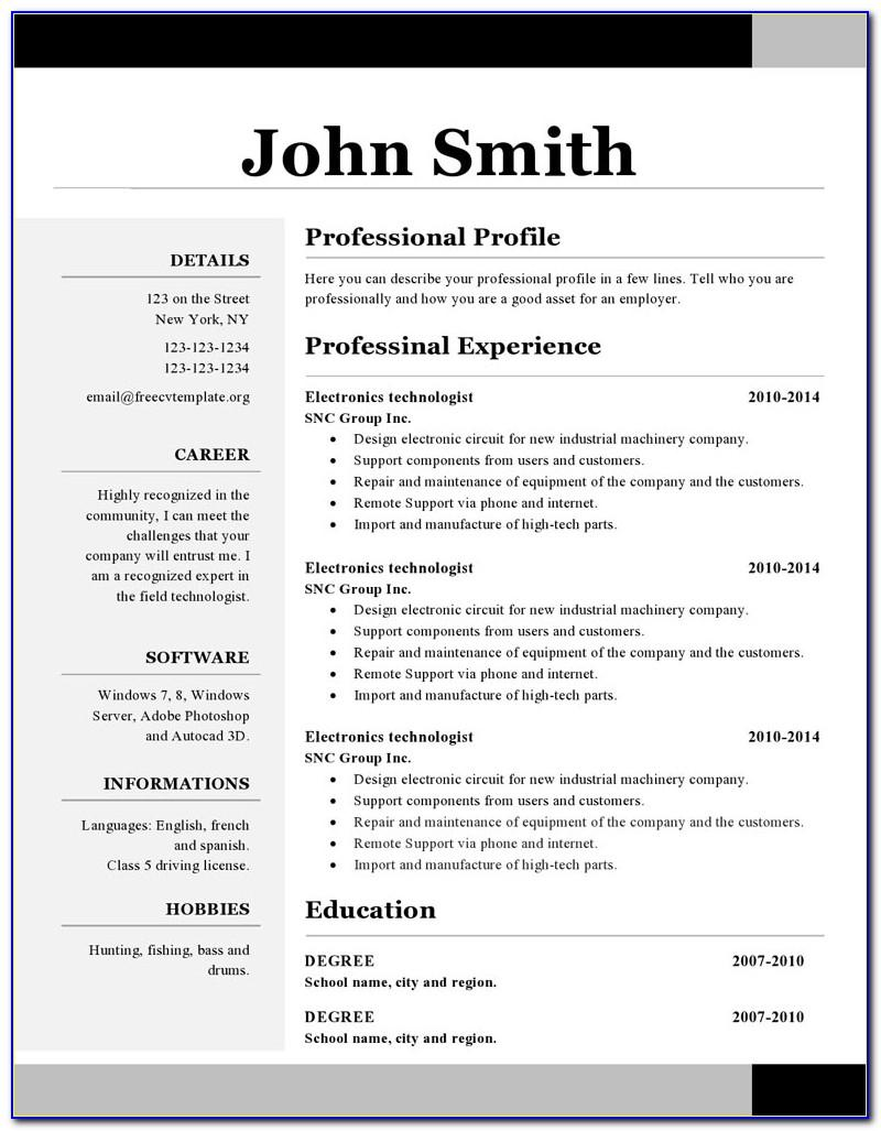 Cv Templates In Ms Word 2007 Free Download