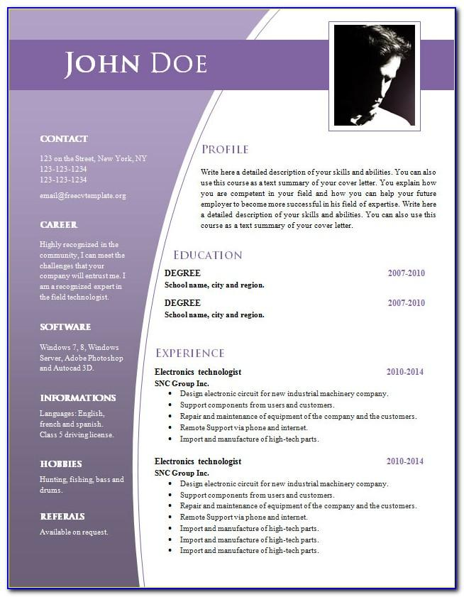 Download Cv Template For Word 2010