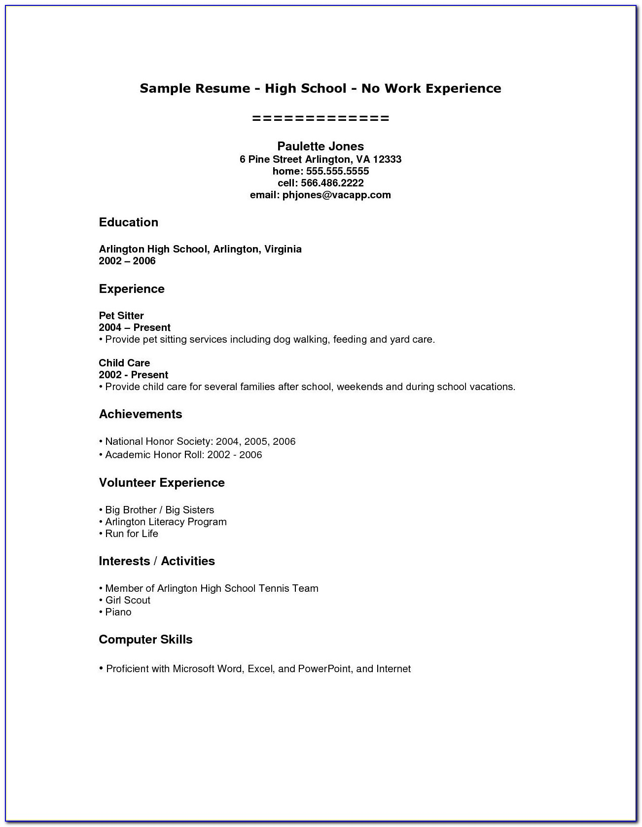 Easy Resume Template For Highschool Students