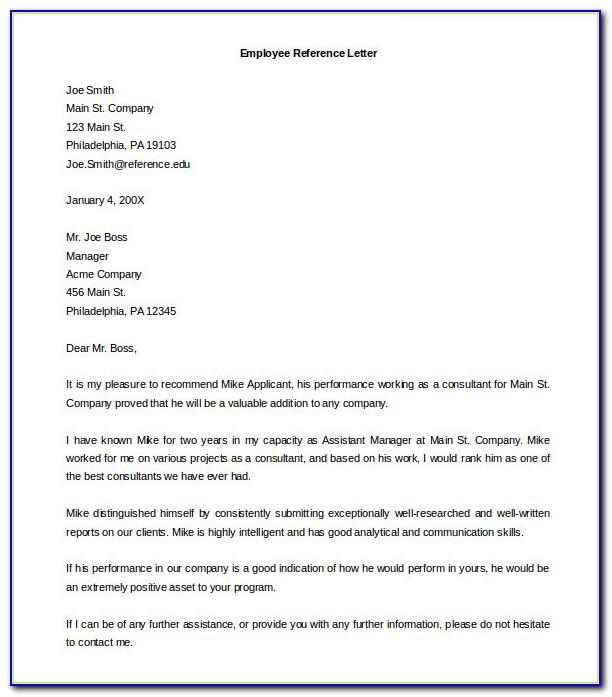 Employee Reference Letter Template Free
