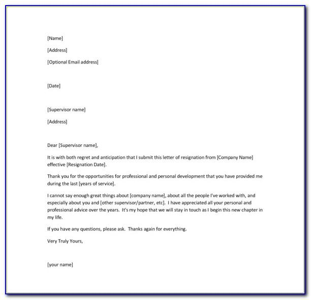 Employee Resignation Letter Format In Word Free Download