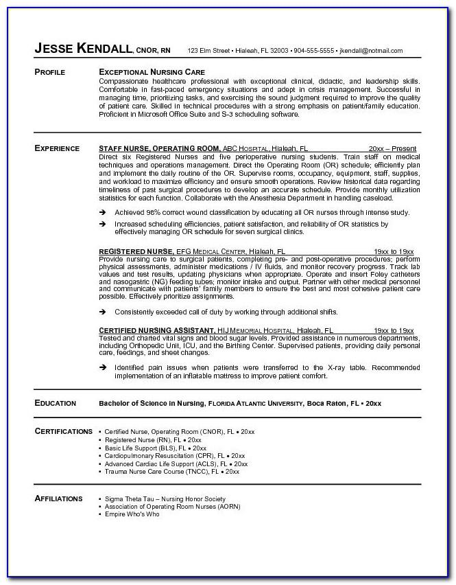 Entry Level Registered Nurse Resume Template