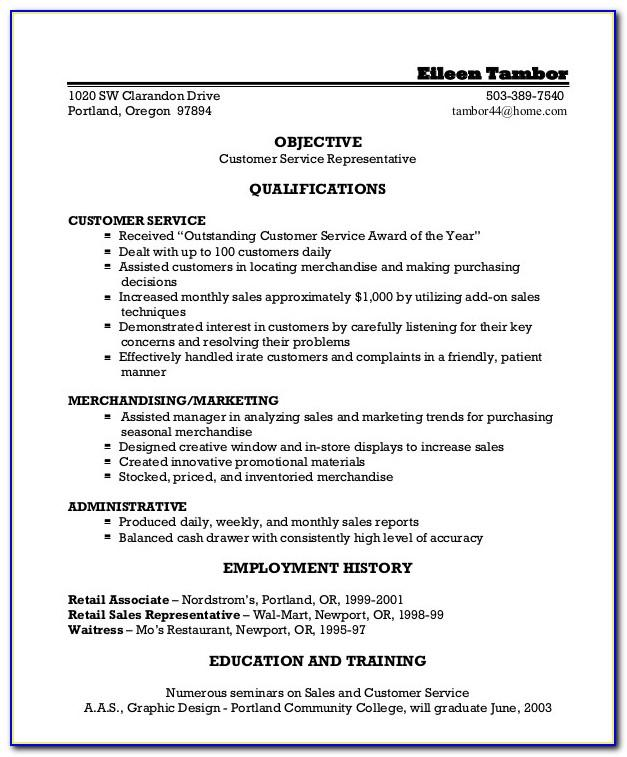 Example Resume For Customer Service Representatives