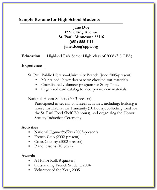 Example Resume For High School Graduates