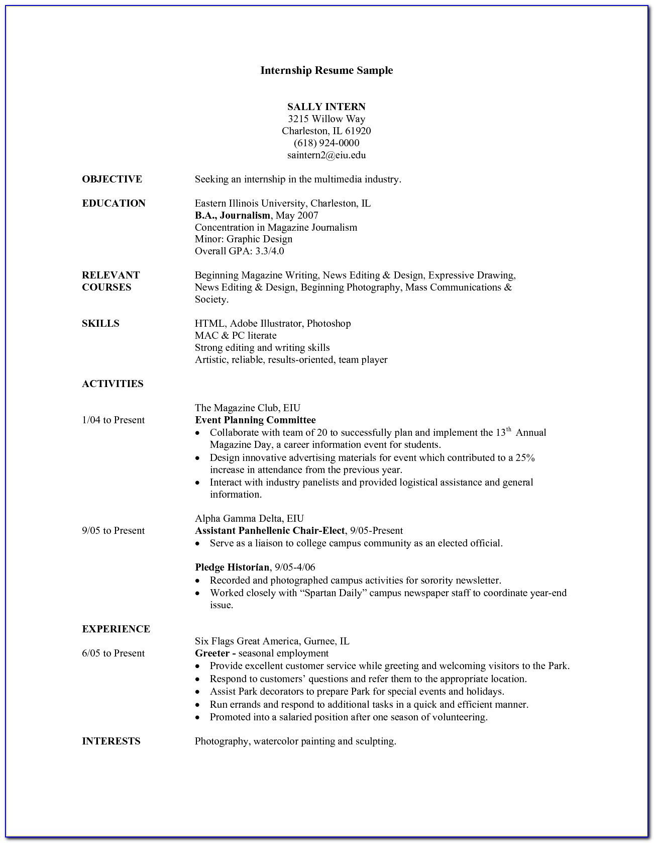 Example Resume For Internship Student