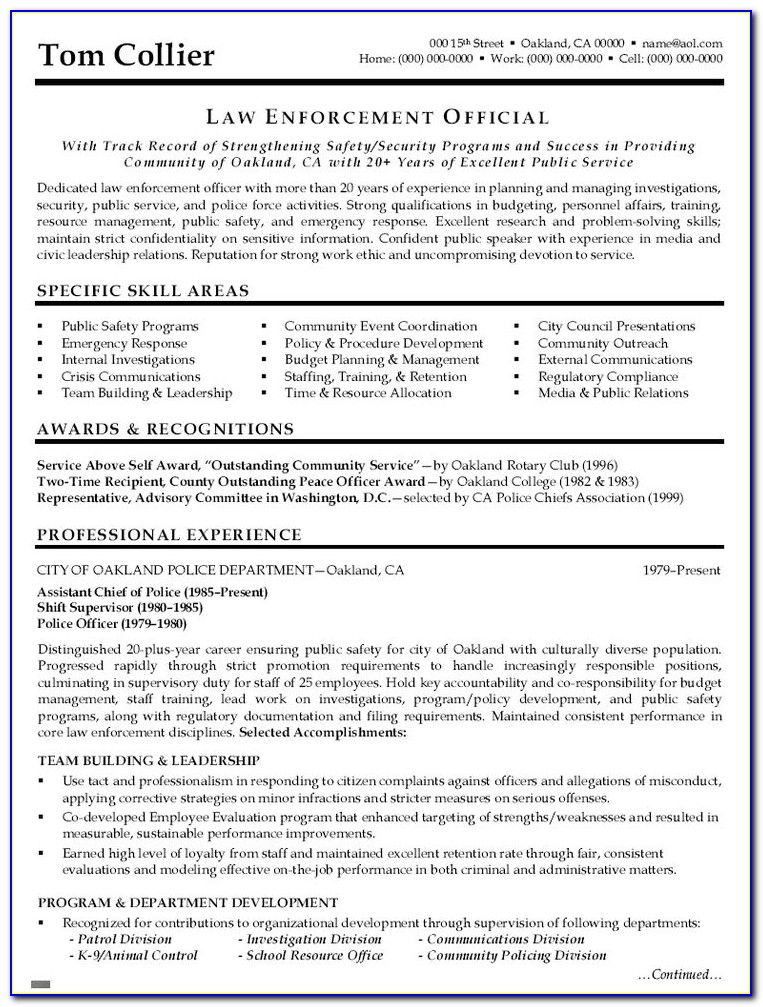 Example Resume For Law School