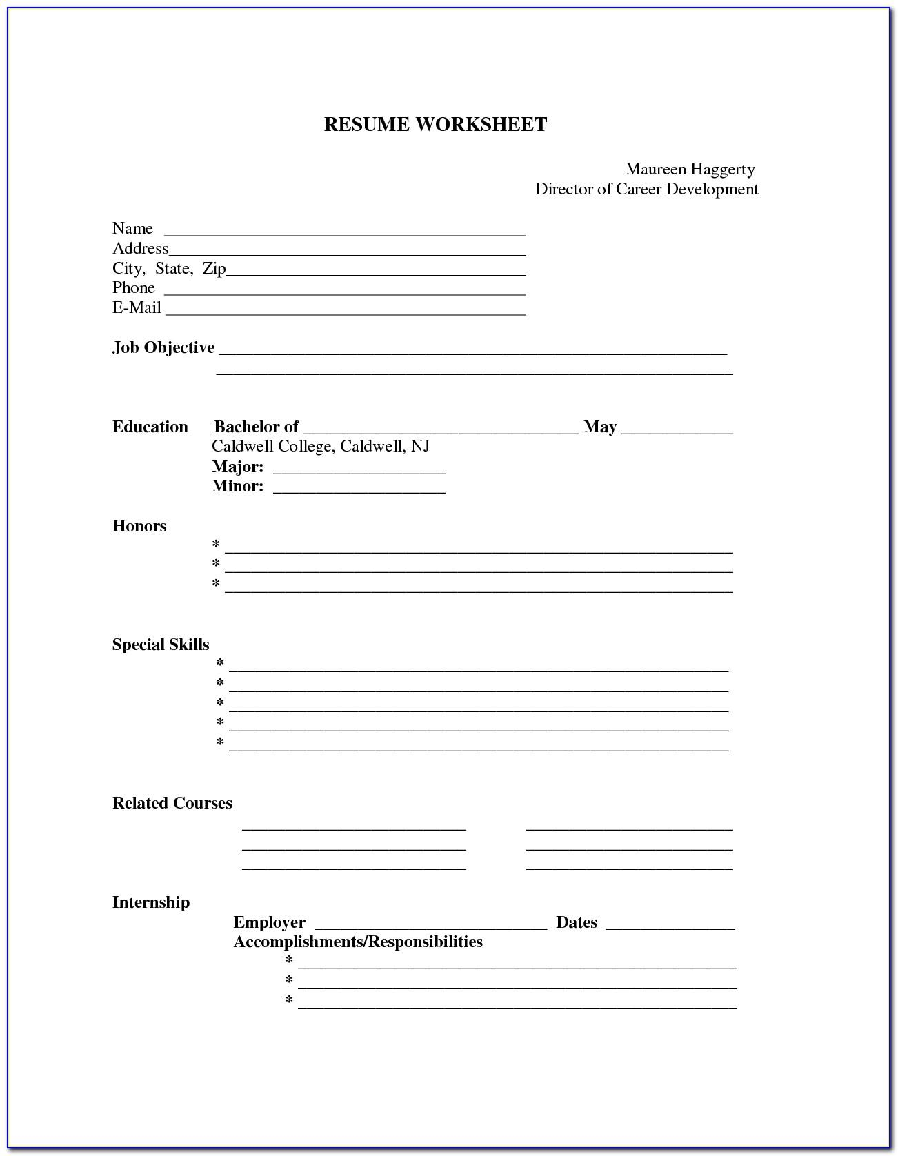 Fill In Resume Template For High School Students