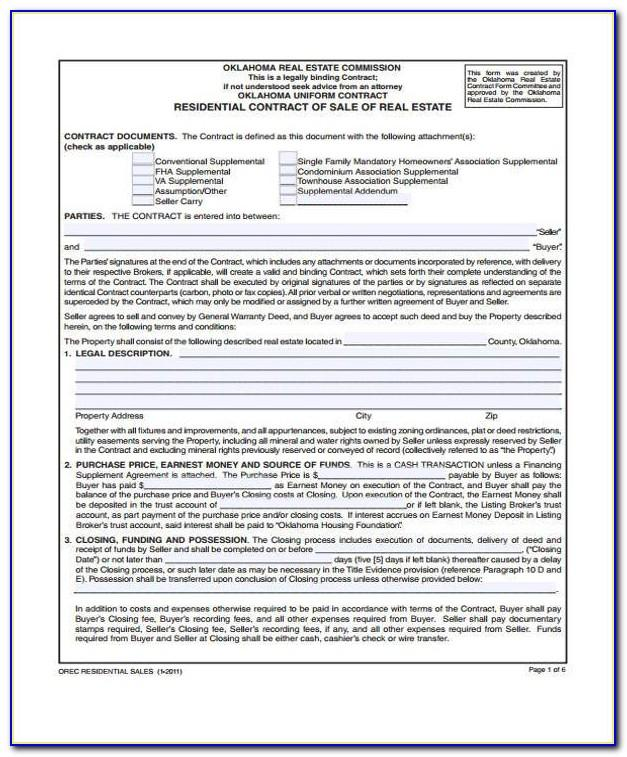 Florida Real Estate Sale Contract Form