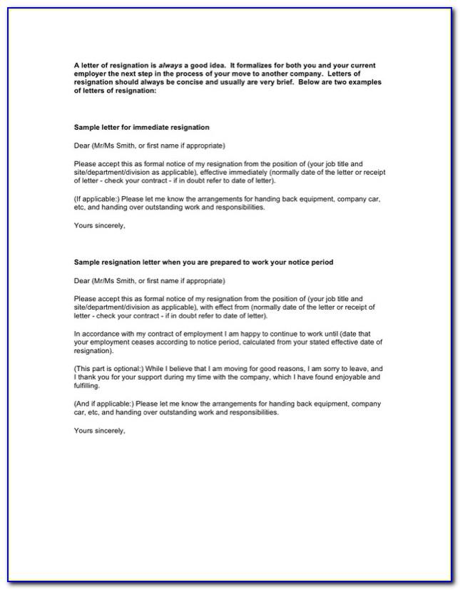 Formal Resignation Letter Sample With Notice Period Free Download
