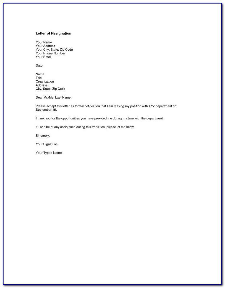 Formal Resignation Letter Template Singapore