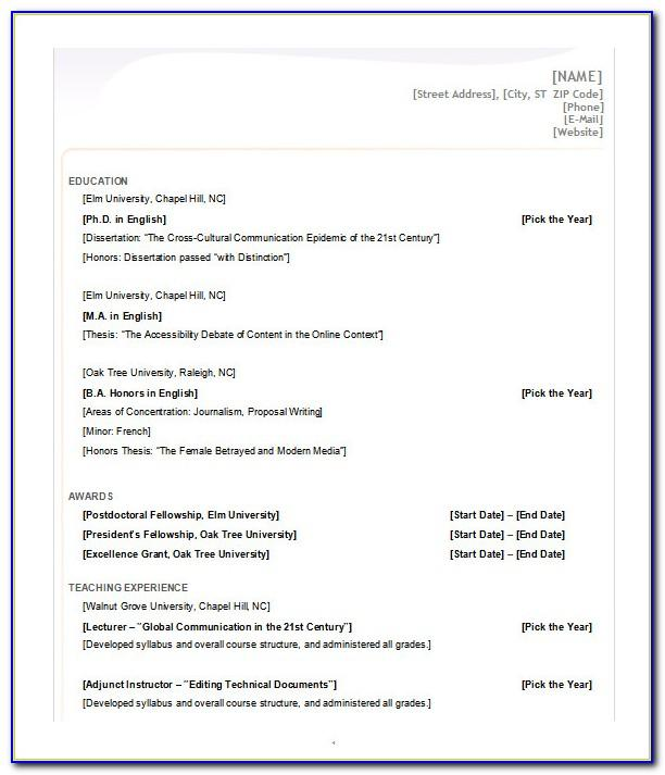 Free Download Resume Templates Microsoft Word 2010