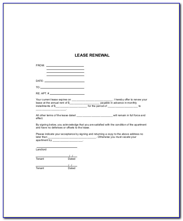 Free Lease Renewal Agreement Template