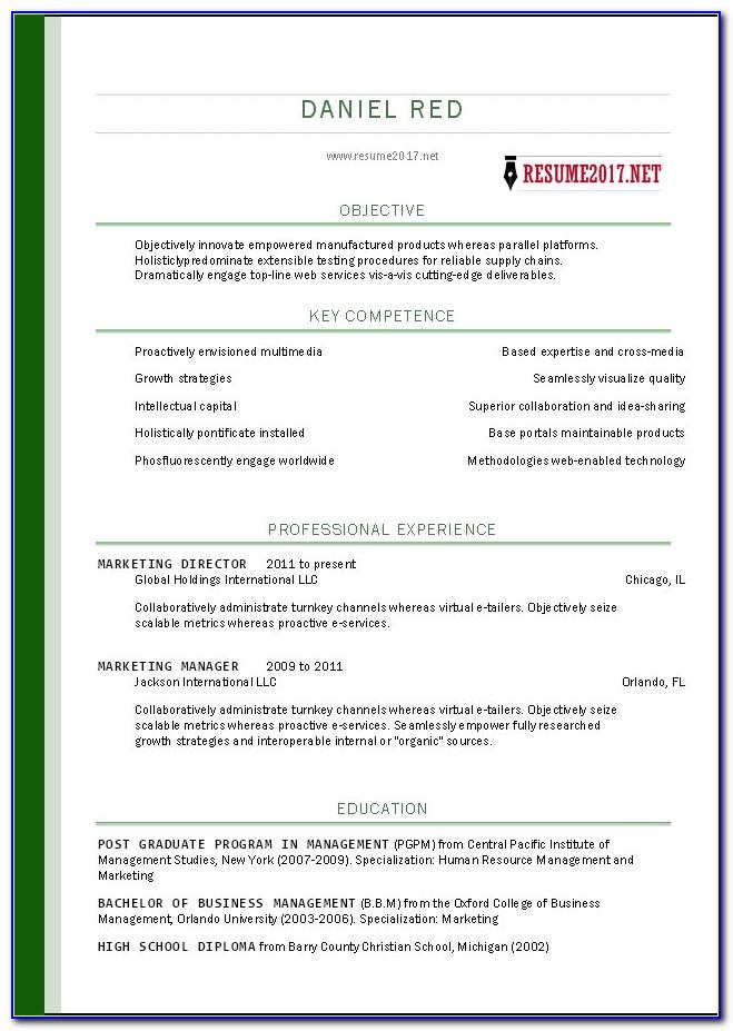 Free Printable Resume Templates 2017