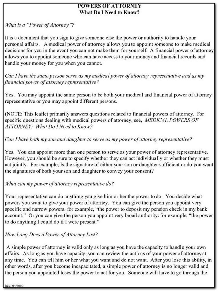 Free Real Estate Power Of Attorney Forms To Print