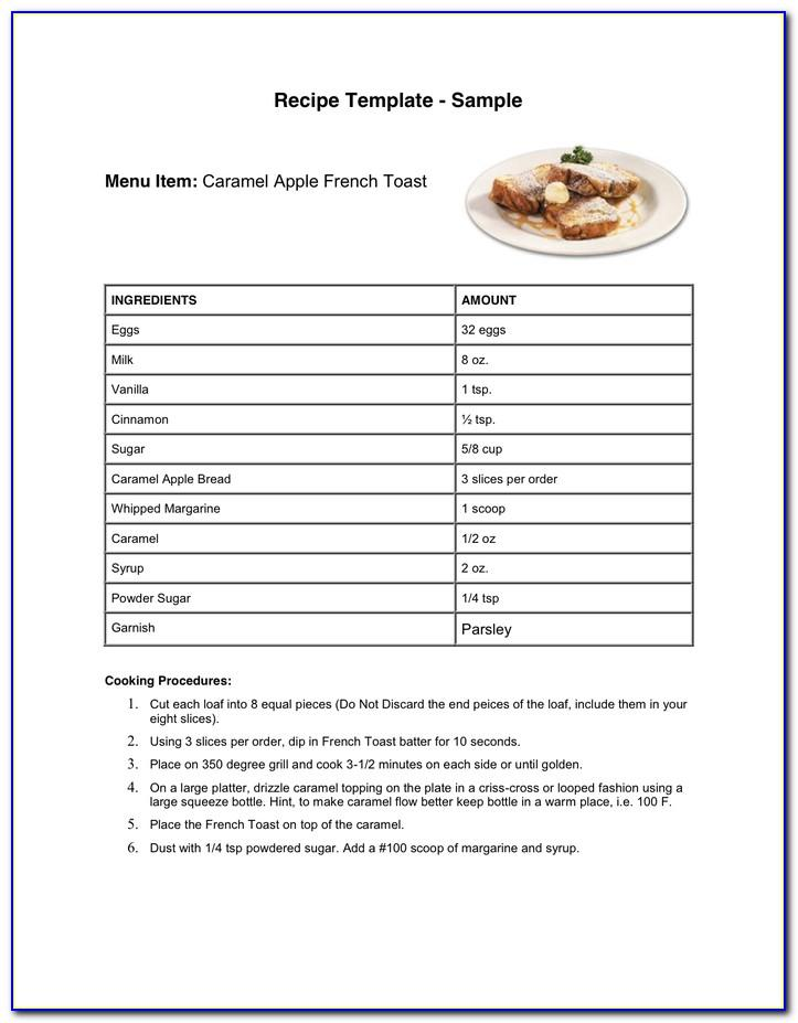 Free Recipe Template For Cookbook