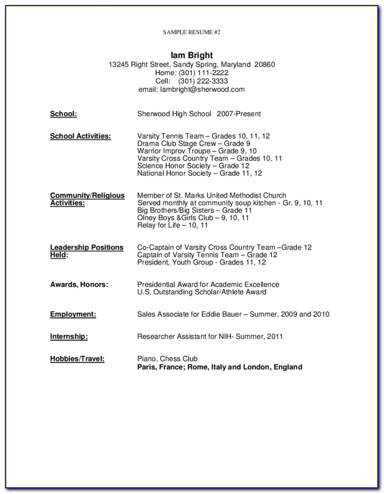 Free Resume Template For High School Graduate