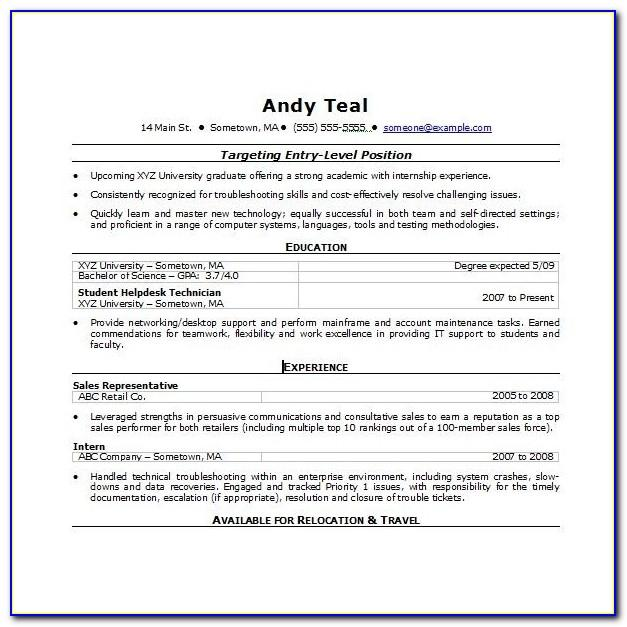 Free Resume Template For Word 2007