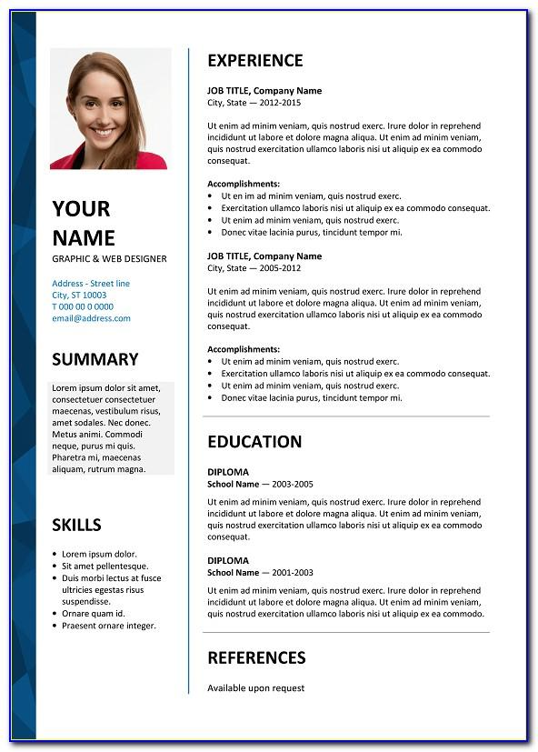 Free Resume Template With Photo Insert Download