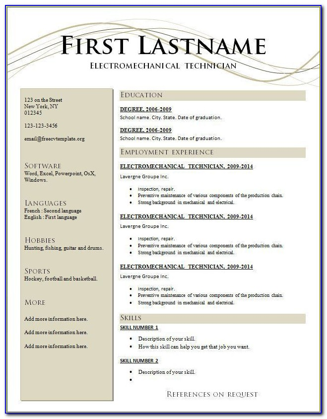 Free Resume Templates Construction Laborer