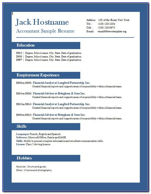 Free Resume Templates For Accounts Receivable