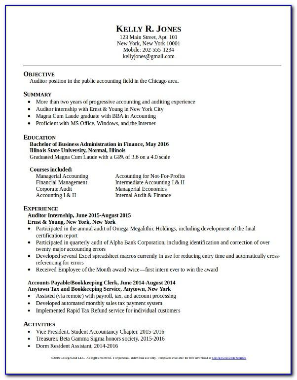 Free Resume Templates For College Graduates